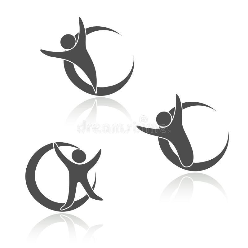 Rond gemaakte menselijke pictogrammen, teken van lichaam, geschiktheidssymbolen stock illustratie