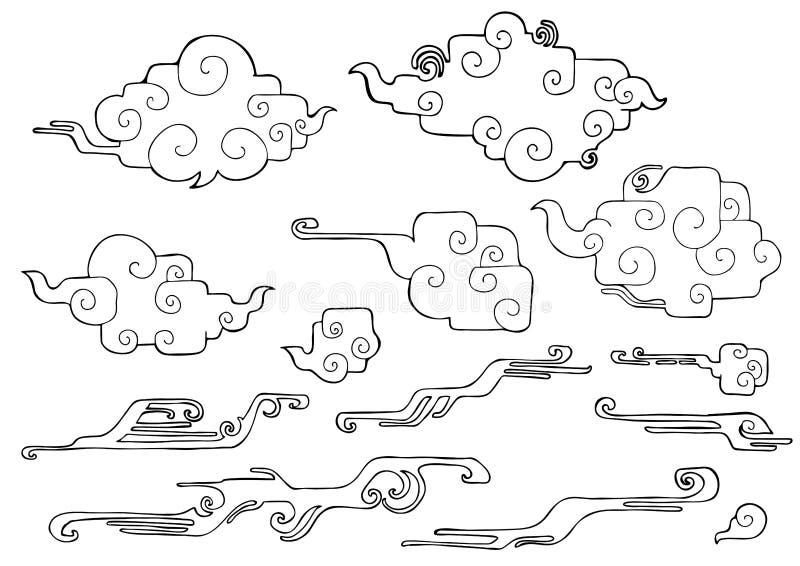 rond gemaakte rechte hoek oosterse wolk of Japanse wolk of Chinese wolk en windelementenreeks vector illustratie