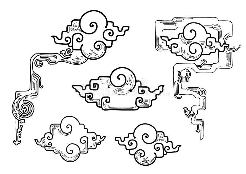 Rond gemaakte rechte hoek Oosterse wolk of Japanse wolk of Chinese wolkenreeks vector illustratie