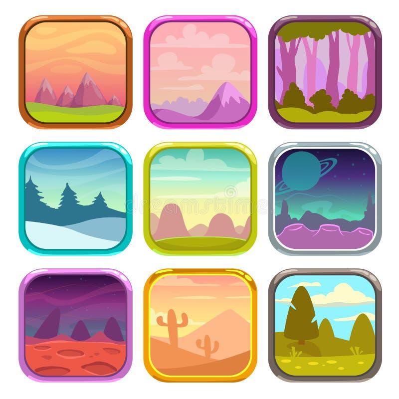 Rond gemaakte vierkante app pictogrammen met aardlandschappen vector illustratie