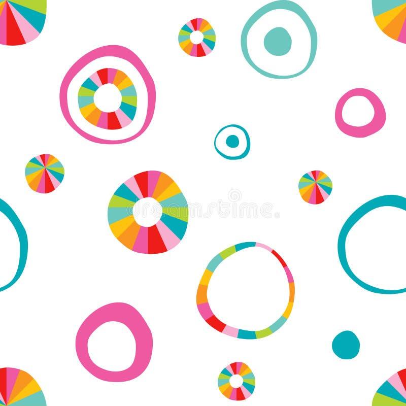 Rond getrokken de hand van de kinderenkrabbel, het patroon van de cirkelkleur stock illustratie