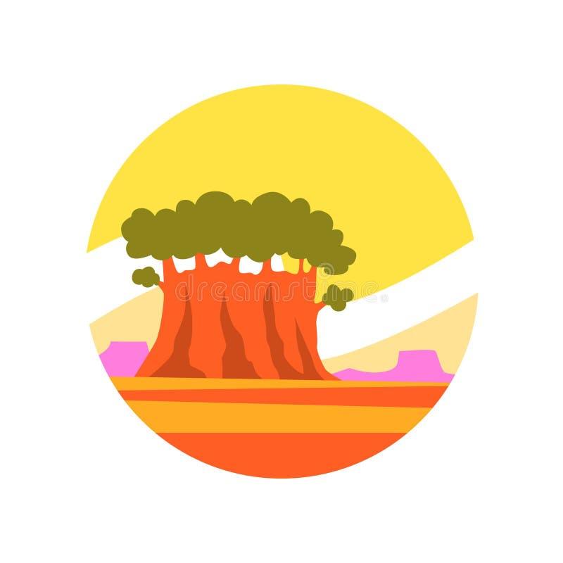 Rond-gevormd pictogram van zonnig de zomerlandschap met oude groene baobab Reis of Avonturenconcept Natuurlijk milieupictogram stock illustratie