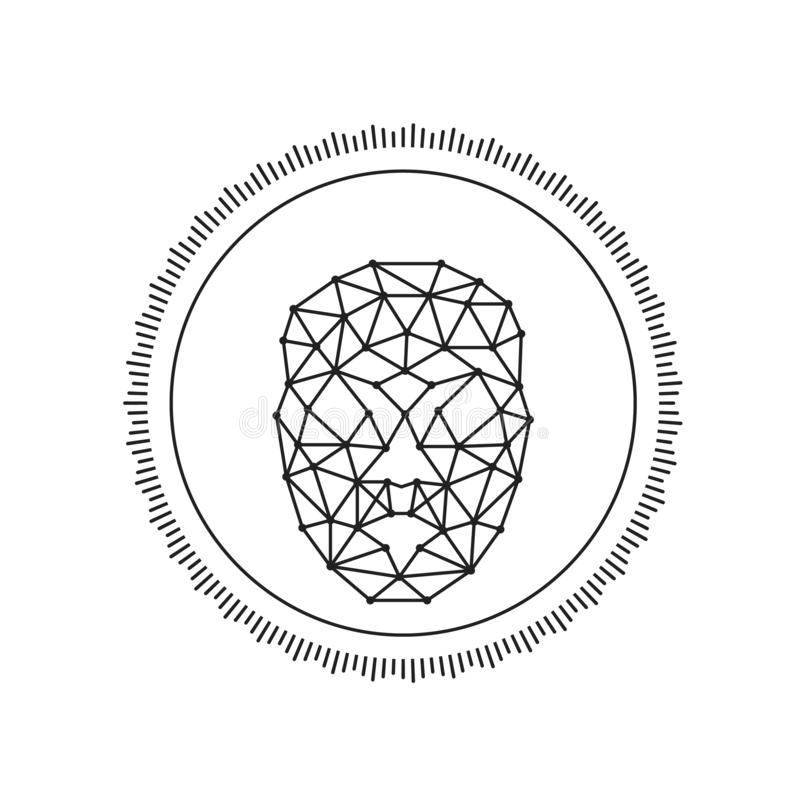 Rond gezichts van de het aftastenlijn van de erkenningsidentificatie de kunst vectorpictogram voor apps en websites - Vector vector illustratie