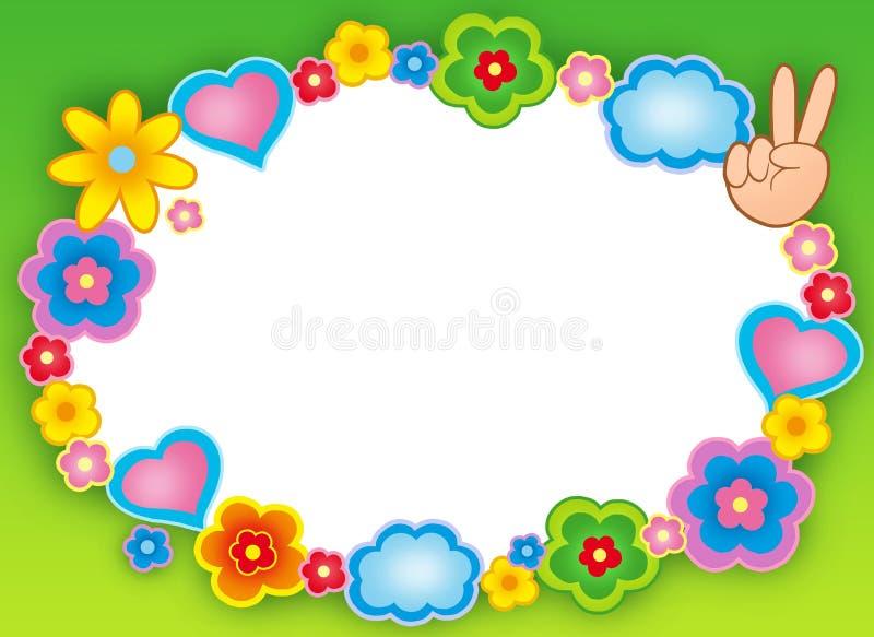 Rond hippieframe met bloemen stock illustratie