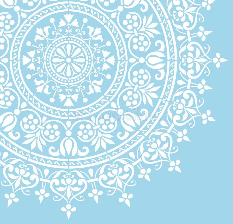 Rond Indisch wit bloemenpatroon royalty-vrije illustratie