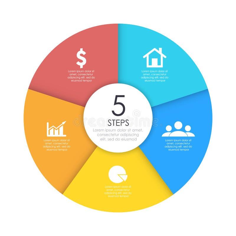 Rond infographic diagram Cirkels van 5 elementen of stappen stock illustratie