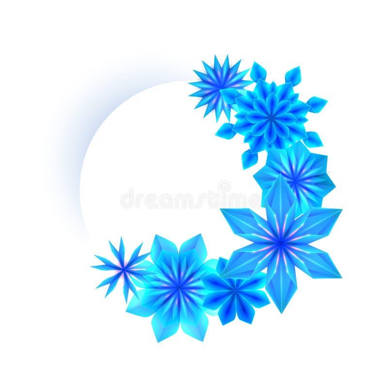 Rond kader met blauwe origamisneeuwvlokken en plaats voor tekst op witte achtergrond Vector Malplaatje stock illustratie