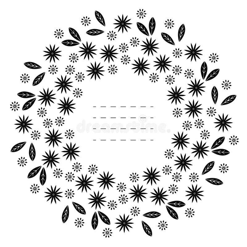 Rond kader met decoratieve die bloemen en bladeren op wit worden geïsoleerd royalty-vrije illustratie