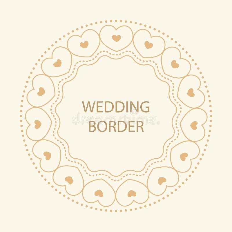 Rond kader met decoratieve elementen Huwelijkskaart met gouden hea stock illustratie