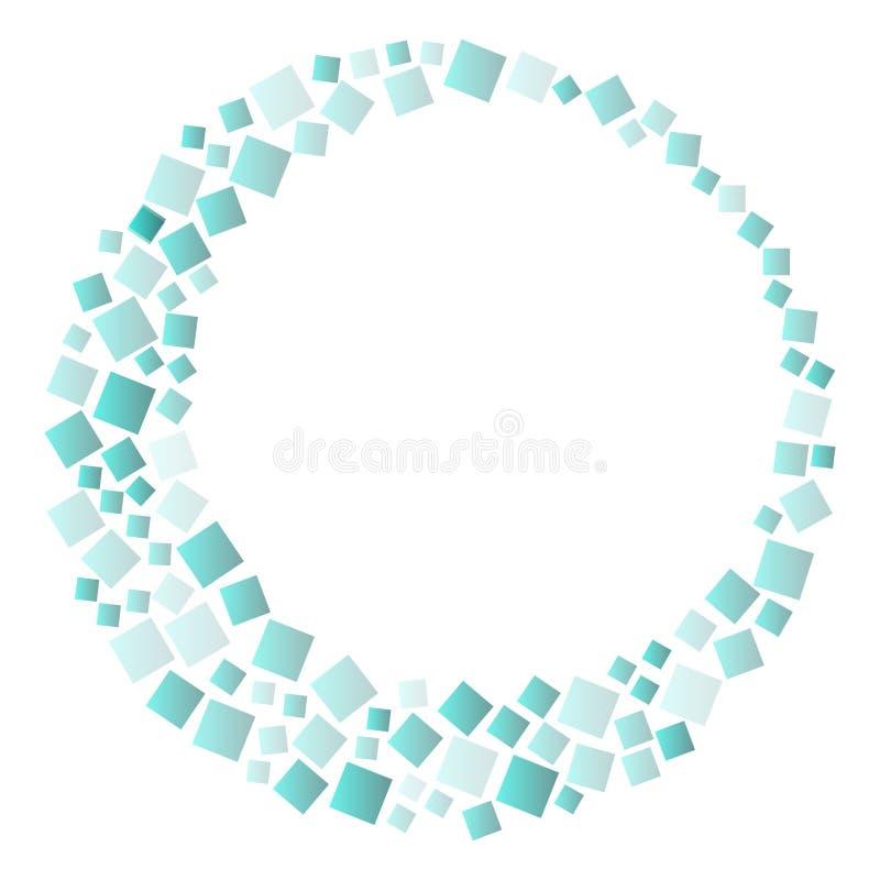 Rond kader met greennvierkanten, geometrische achtergrond Vector royalty-vrije illustratie