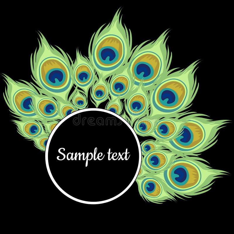 Rond kader met groene pauwveren vector illustratie