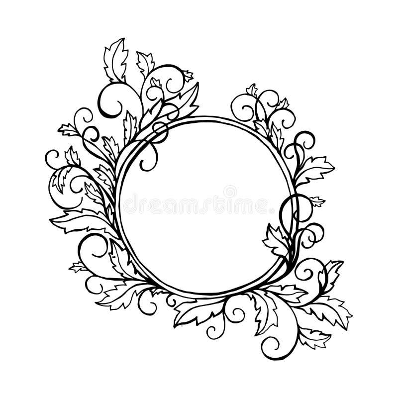 Rond kader met krullende siergrens Voor beeld of foto Zwart element, het kleuren de dekkingsontwerp van de boekpagina royalty-vrije illustratie