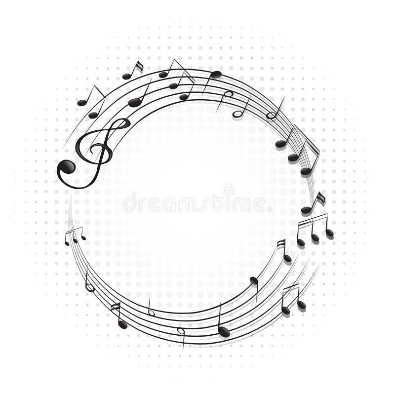 Rond kader met muzieknota's over schalen vector illustratie