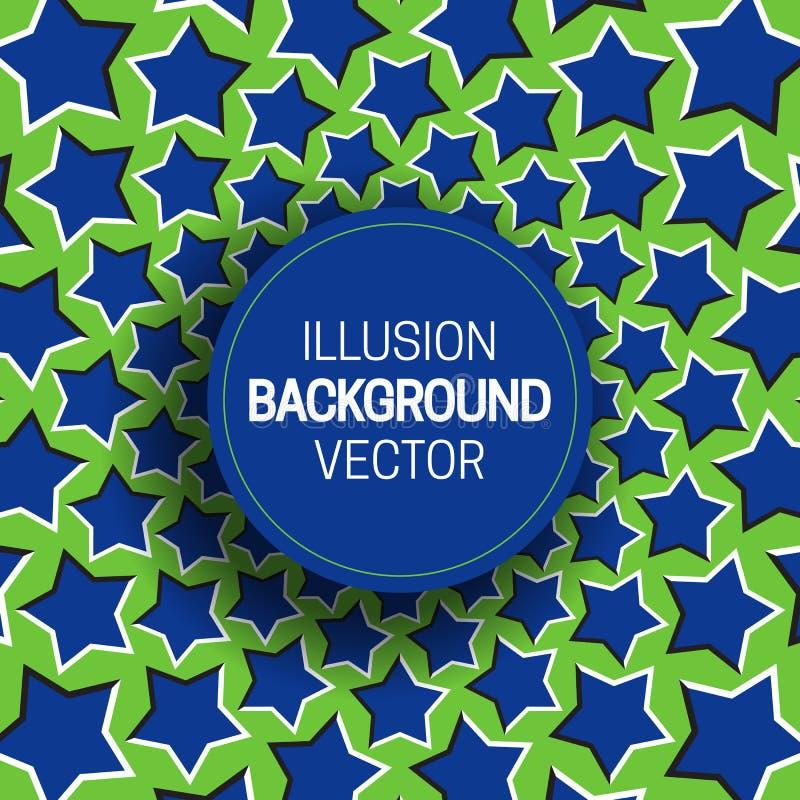 Rond kader op blauwgroene optische illusieachtergrond van het bewegen van sterren royalty-vrije illustratie