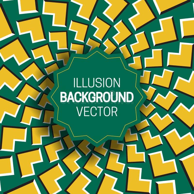 Rond kader op geelgroene optische illusieachtergrond van het bewegen van hoekenvormen royalty-vrije illustratie