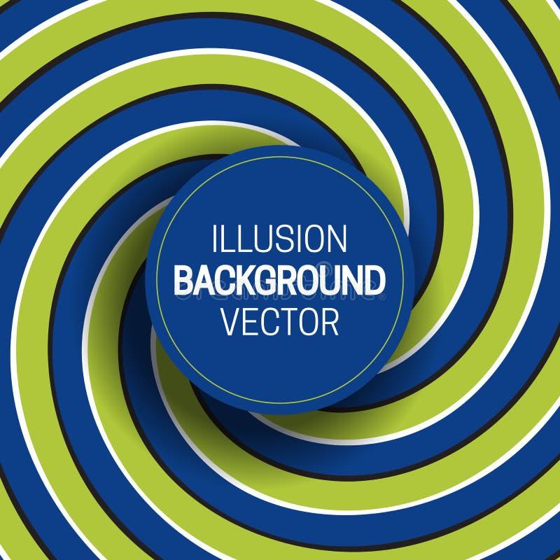 Rond kader op groenachtig blauwe optische illusieachtergrond van het bewegen van spiraalvormige strepen stock illustratie