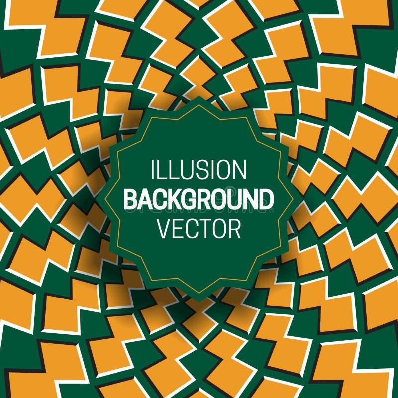 Rond kader op oranje groene optische illusieachtergrond van het bewegen van vormen stock illustratie