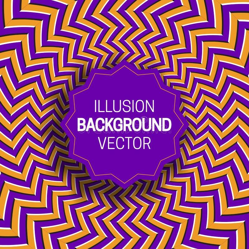 Rond kader op oranje purpere optische illusieachtergrond van het bewegen van zigzagstrepen stock illustratie