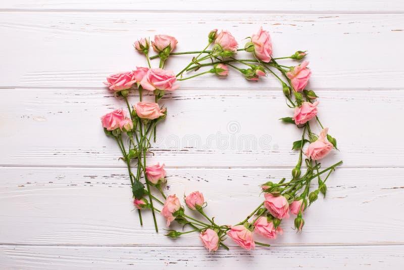 Rond kader van roze rozenbloemen op witte houten backgroun stock afbeeldingen