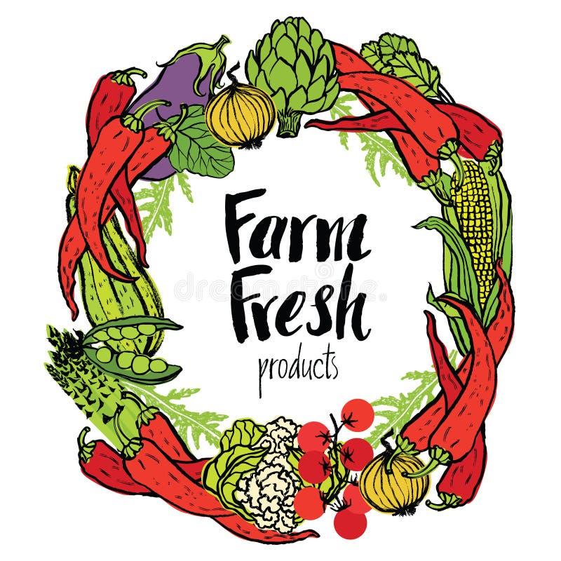 Rond kader van verse groenten vector illustratie