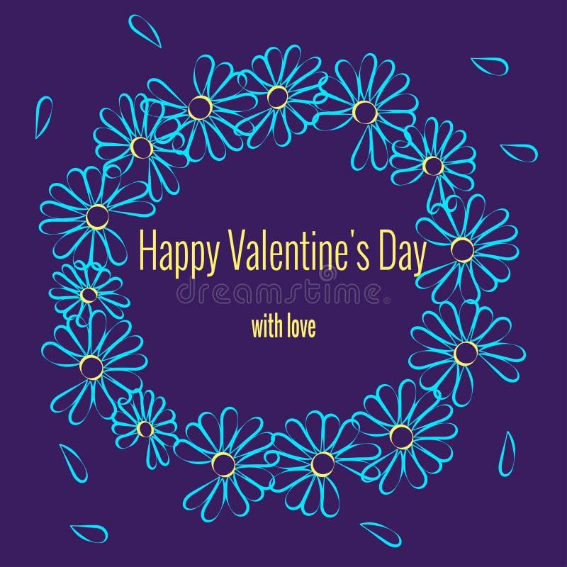 Rond kader voor de dagontwerp van de romantische valentijnskaart Ronde kroon van madeliefjebloemen Patroon van contourlijnen Gebr stock illustratie