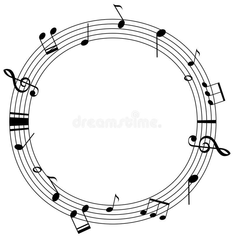 Rond kadermalplaatje met muzieknota's over schalen royalty-vrije illustratie