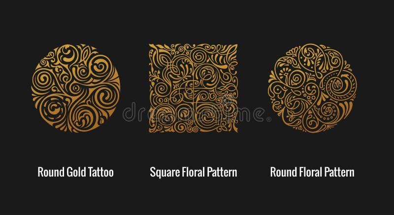 Rond kalligrafisch embleem Vector bloemensymbool voor koffie royalty-vrije illustratie