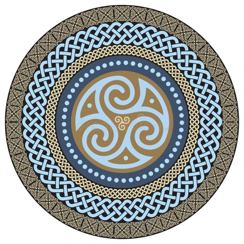 Rond Keltisch Ontwerp Oude Keltische magische mandala royalty-vrije illustratie