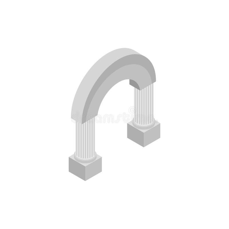 Rond klassiek boogpictogram, isometrische 3d stijl royalty-vrije illustratie
