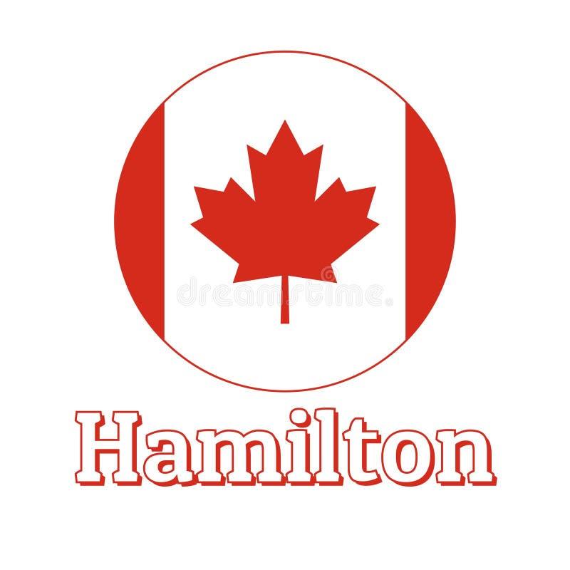 Rond knooppictogram van nationale vlag van Canada met rood esdoornblad op de het witte achtergrond en van letters voorzien van st stock illustratie