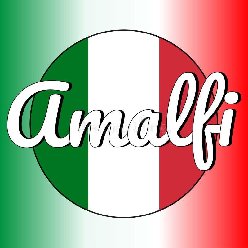 Rond knooppictogram van nationale vlag van Italië met rode, witte en groene kleuren en inschrijving van stadsnaam: Amalfi binnen stock illustratie