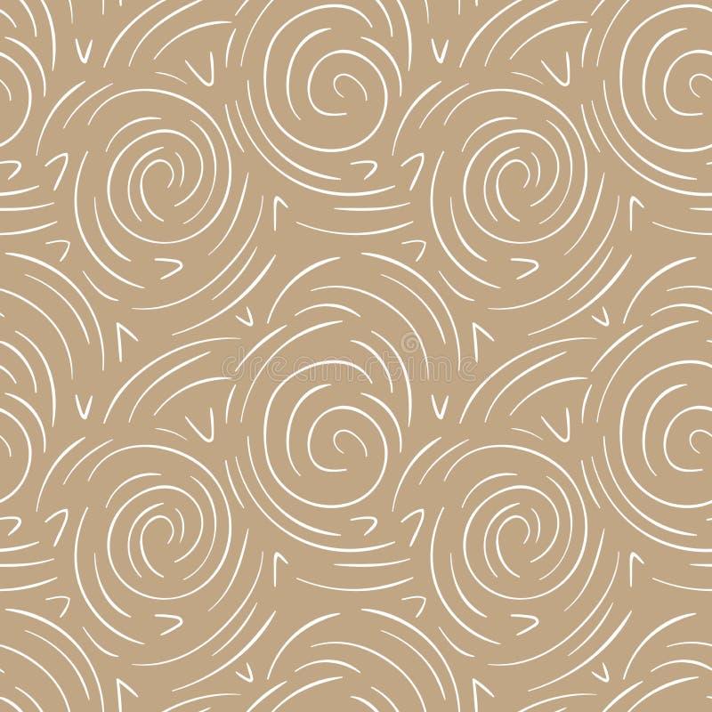 Rond lijnen abstract vector naadloos patroon Moderne gouden en witte achtergrond stock illustratie