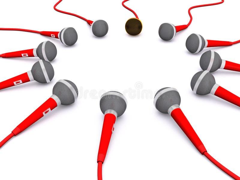 Rond microfoongroep. 3D vector illustratie