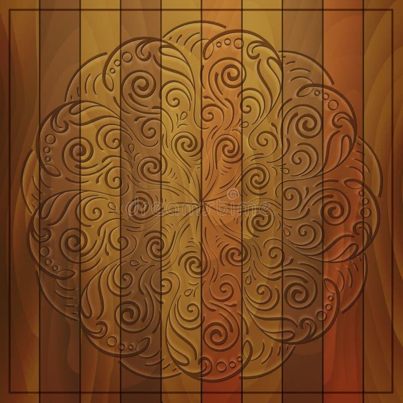Rond patroon op houten achtergrond royalty-vrije illustratie