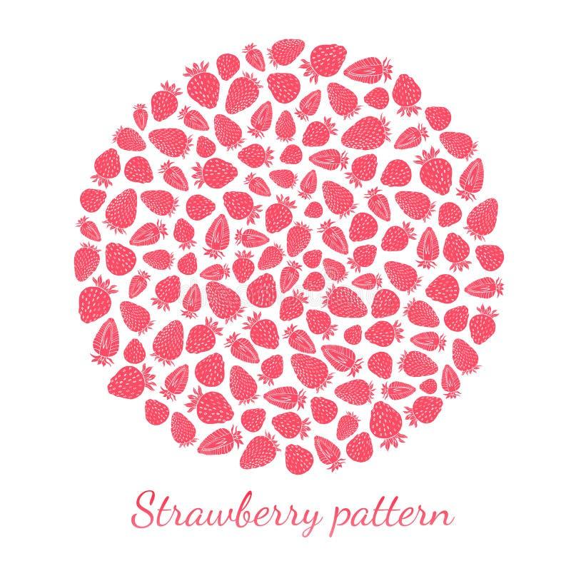 Rond patroon van roze die aardbeien op witte achtergrond wordt geïsoleerd royalty-vrije illustratie