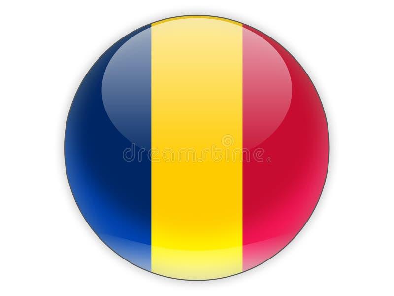 Rond pictogram met vlag van Tsjaad vector illustratie