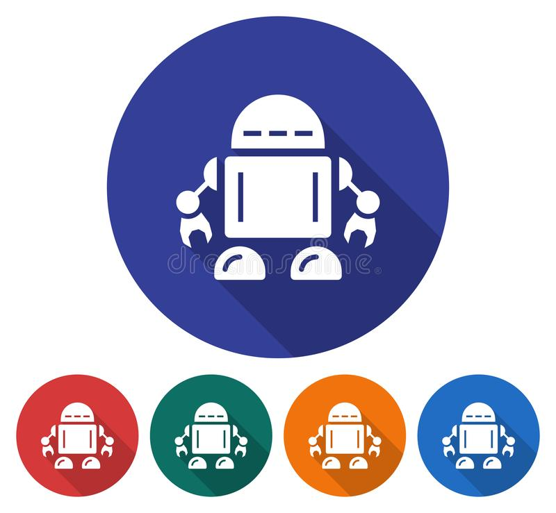 Rond pictogram van robot royalty-vrije illustratie