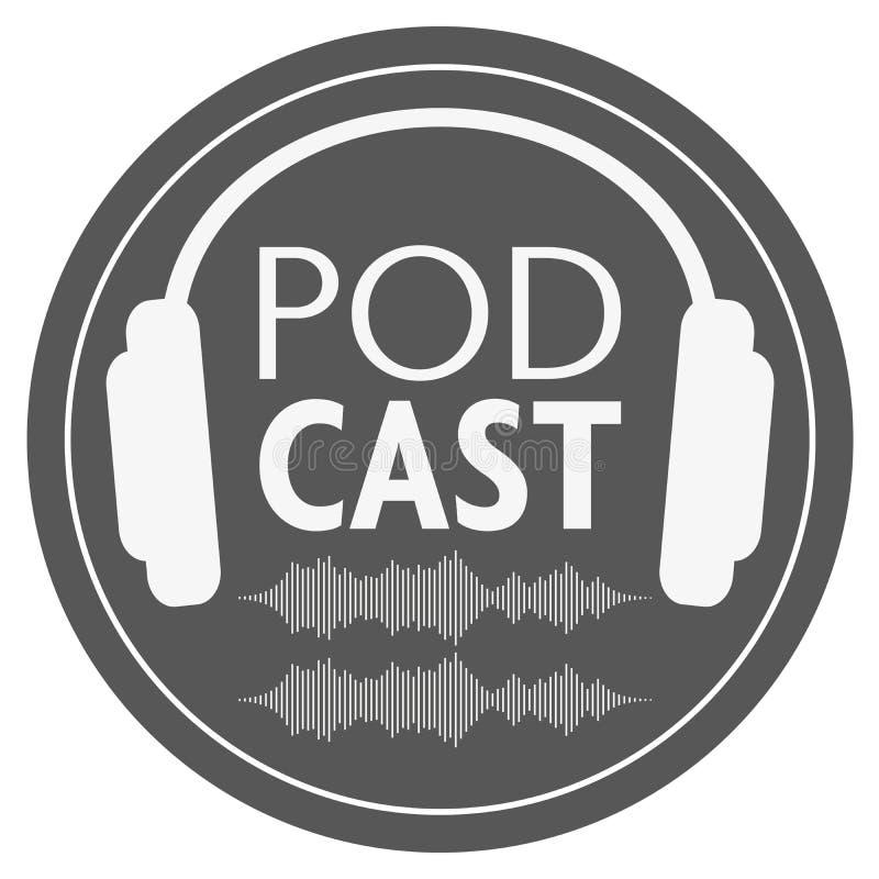 Rond podcastpictogram of embleem met hoofdtelefoons en audiogolfvorm stock illustratie