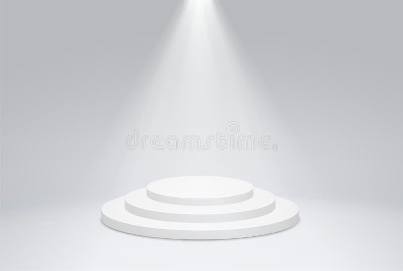 Rond podiumvoetstuk met heldere verlichting, een zoeklicht Winnaarpodium, eerste plaats voor presentatie van trofeeën stock illustratie