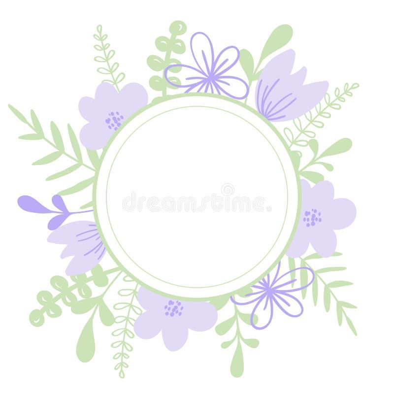 Rond purper vectorkader met bloem en bladeren Illustratie of van de huwelijksuitnodiging kaart, druk stock illustratie