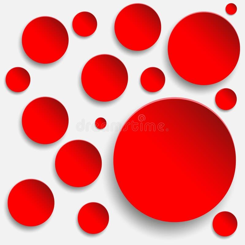 Rond rouge de papier dans le blanc illustration stock