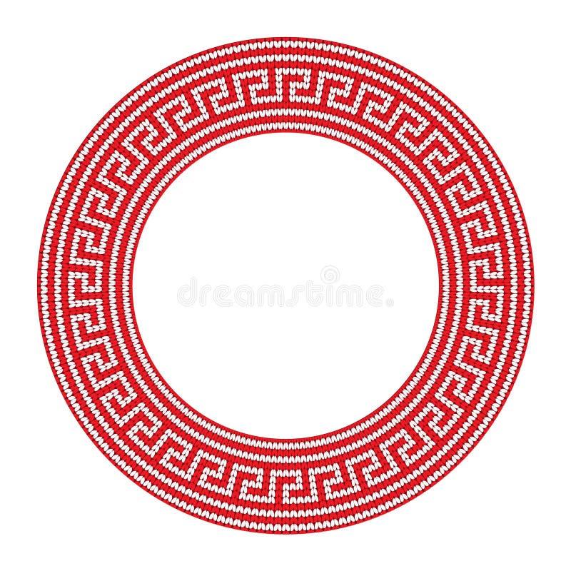 Rond sier rood gekleurd die kader op witte, Griekse grens wordt geïsoleerd vector illustratie