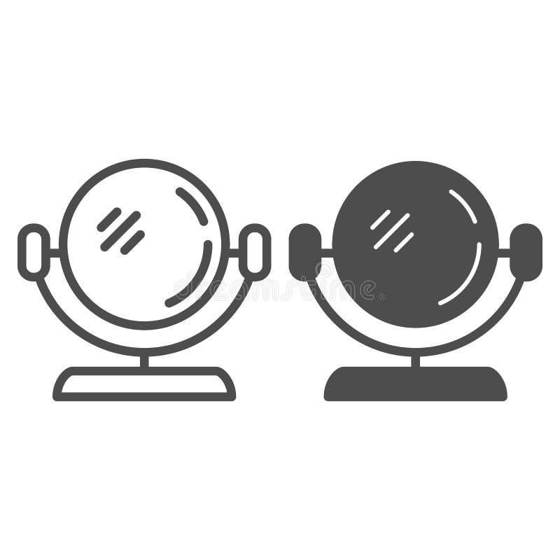 Rond spiegellijn en glyph pictogram De vectordieillustratie van de make-upspiegel op wit wordt ge?soleerd De kosmetische stijl va royalty-vrije illustratie