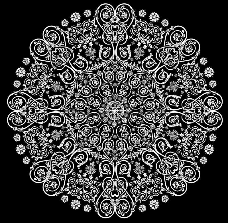 Rond verfraaid patroon met wit stock illustratie