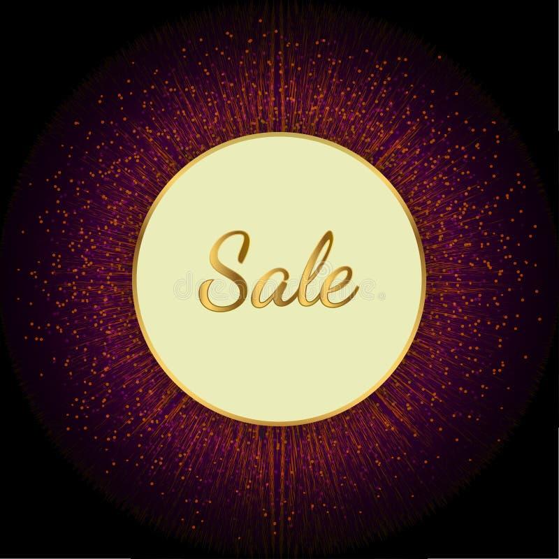 Rond verkoop gouden roze stock illustratie