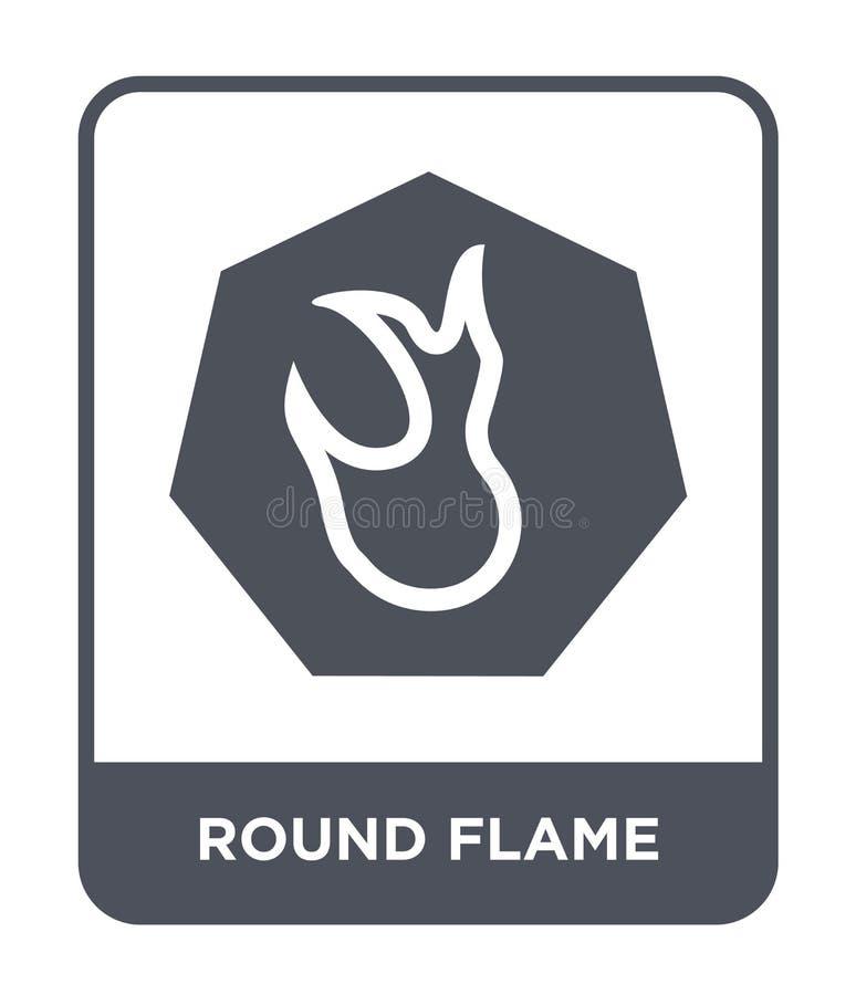 rond vlampictogram in in ontwerpstijl rond die vlampictogram op witte achtergrond wordt geïsoleerd rond eenvoudig en modern vlam  stock illustratie