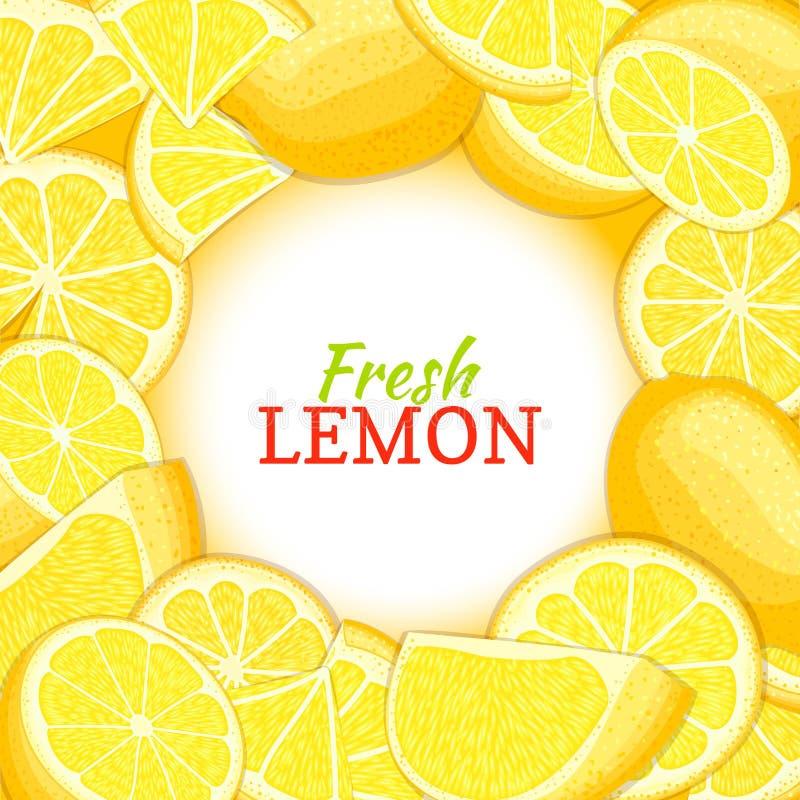 Rond wit etiket op de achtergrond van de citrusvruchtencitroen Vectorkaartillustratie Tropisch vers en sappig geel kalkkader stock illustratie