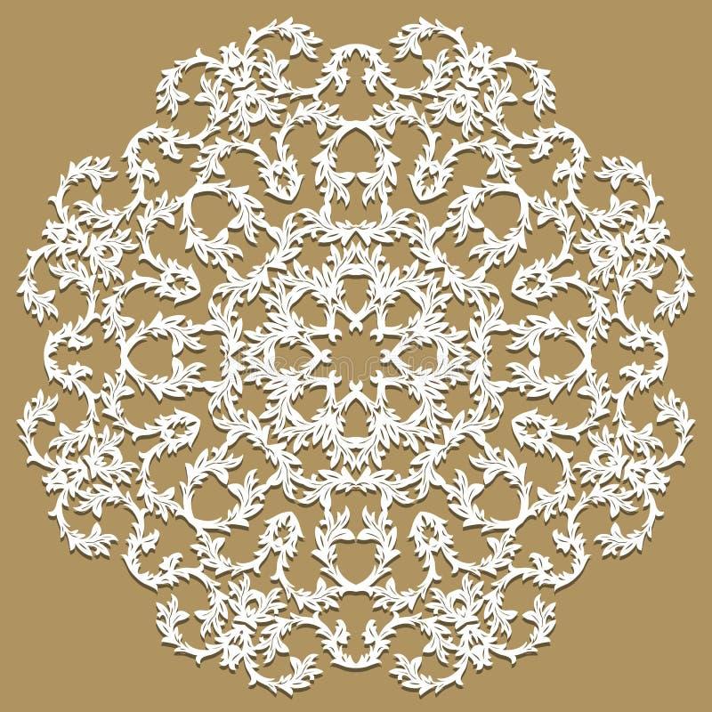 Rond wit kader met het ornament van de kantgrens, kanten etiket, cirkel stock illustratie