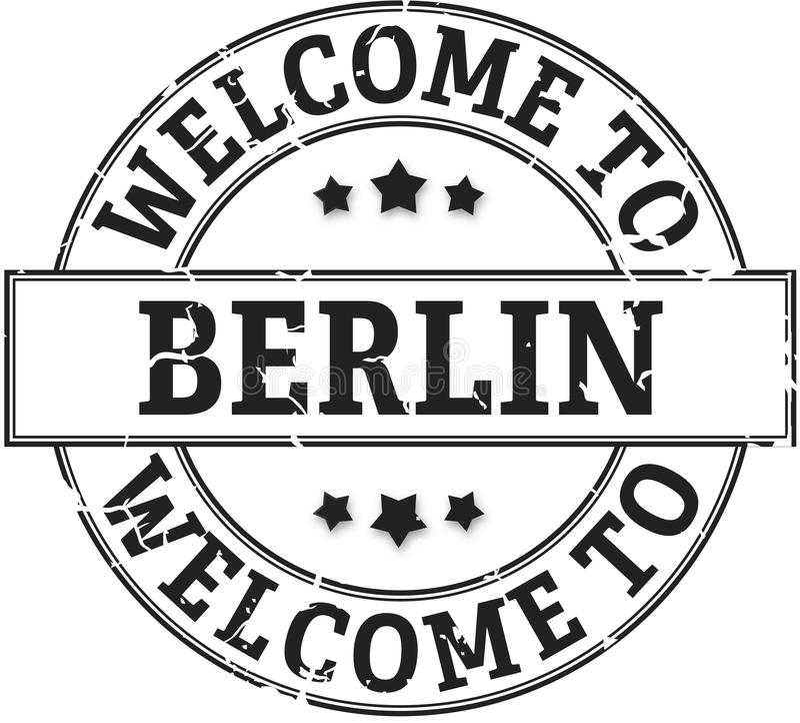 Rond zegelonthaal aan grungy kenteken van Berlijn royalty-vrije illustratie