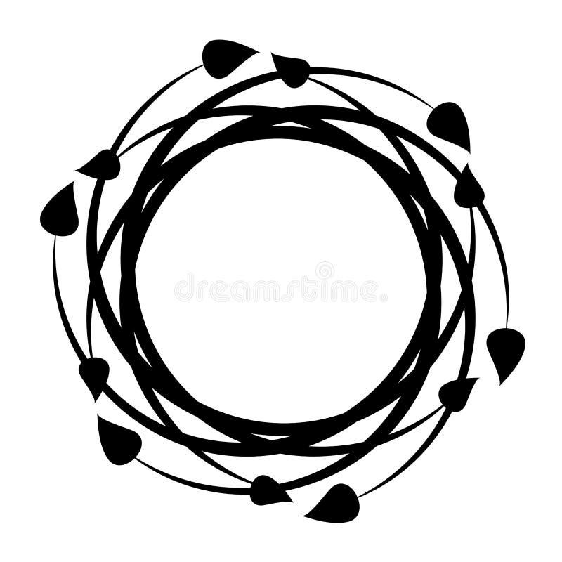 Rond zwart decoratief kader met bladeren Vector vector illustratie